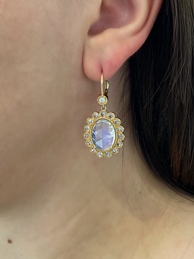 Rose Gold Moonstone Earrings - Lesley Ann Jewels