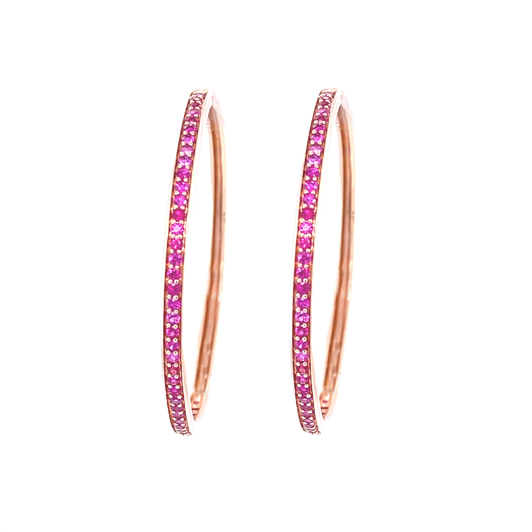 Large Cirque Hoops with Hot Pink Sapphires - Lesley Ann Jewels