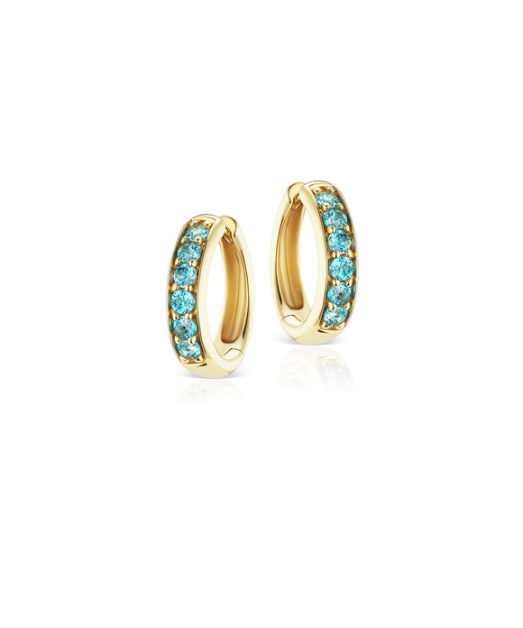 Cirque chubby hoops with blue zircon