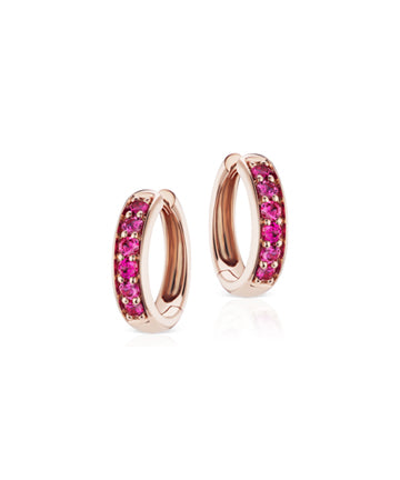 Cirque chubby hoops with hot pink sapphires