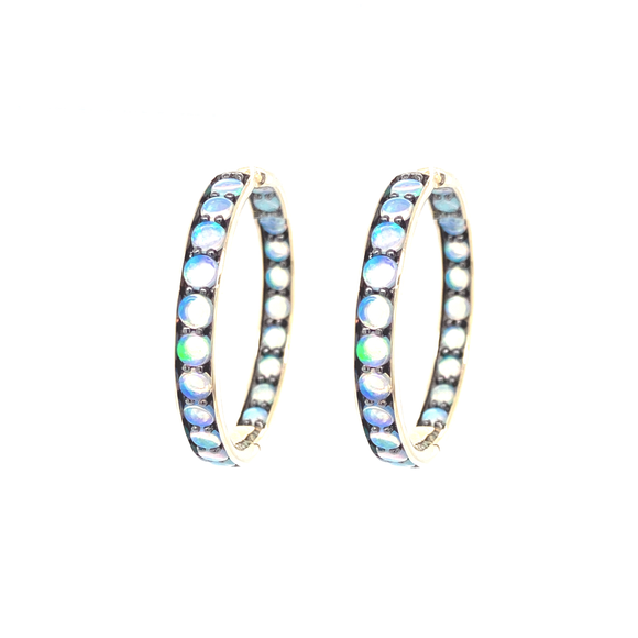 Cirque Hinged Hoops with Opals - Lesley Ann Jewels