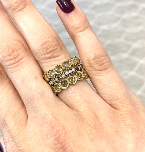 Hex band with brown diamonds - Lesley Ann Jewels