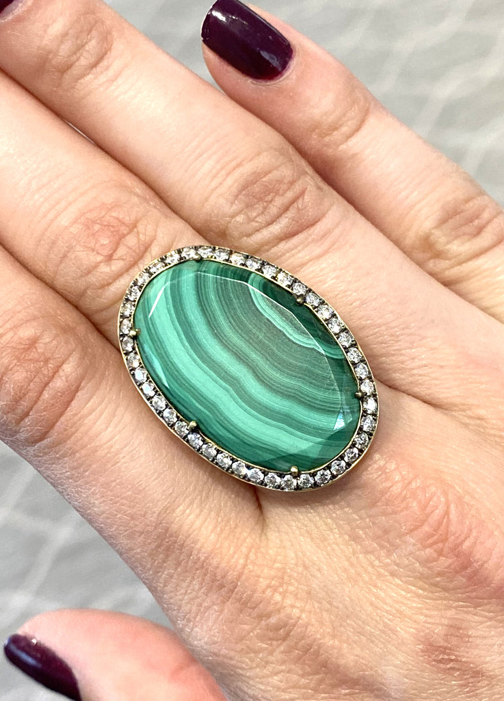Oval Malachite Ring - Lesley Ann Jewels