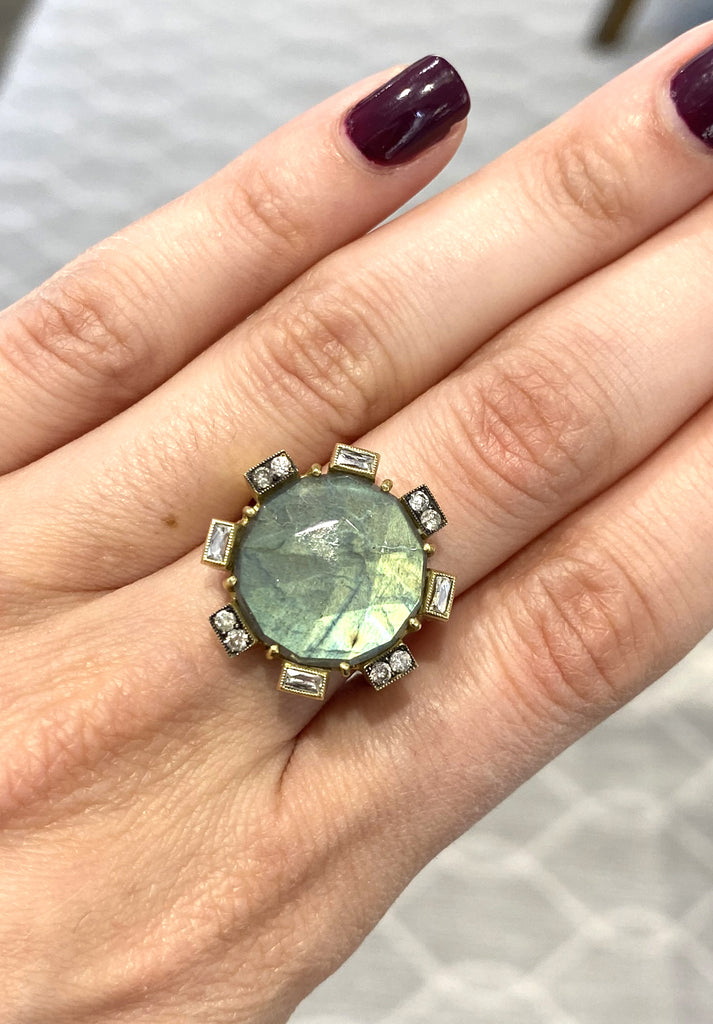 Labradorite Ring with Diamonds - Lesley Ann Jewels