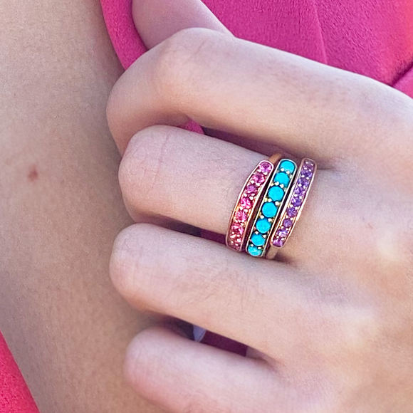Cirque Small Half Eternity Band with Amethyst - Lesley Ann Jewels
