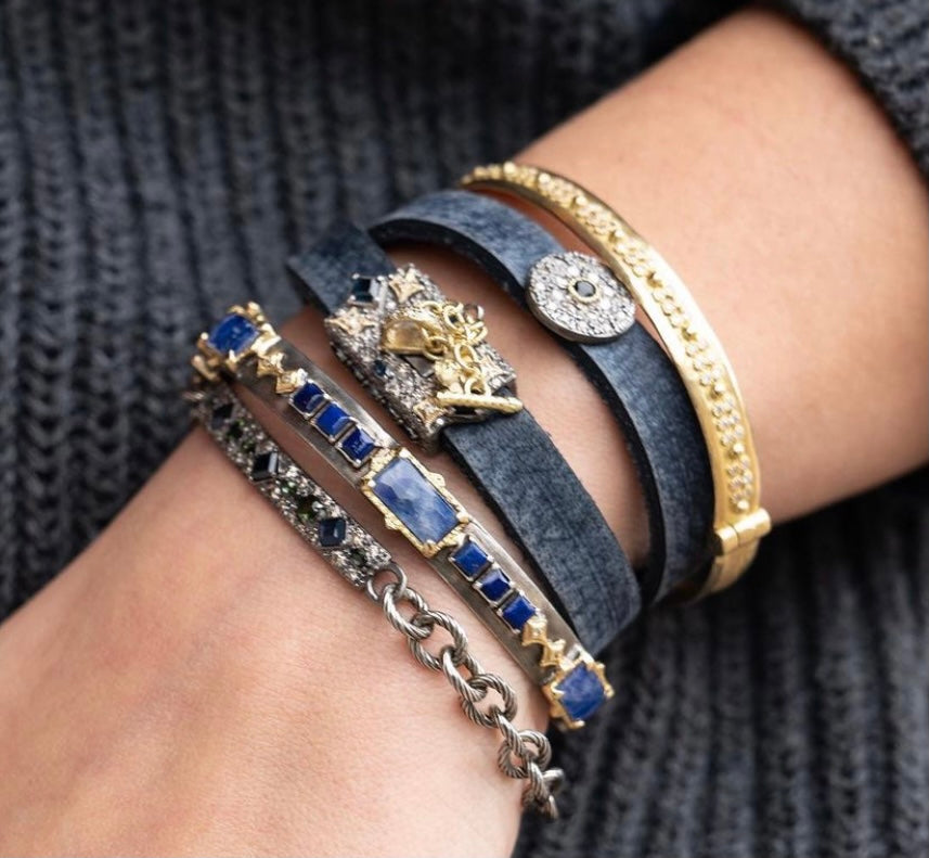 Blue Leather Double Wrap Bracelet with Blue Sapphire - Lesley Ann Jewels
