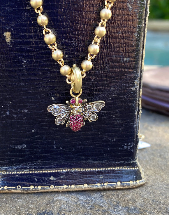 Ruby Bee Pendant - Lesley Ann Jewels