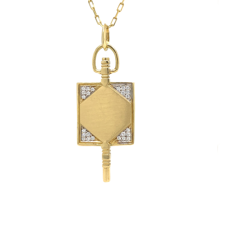 Diamond Key Charm Chain Necklace - Lesley Ann Jewels