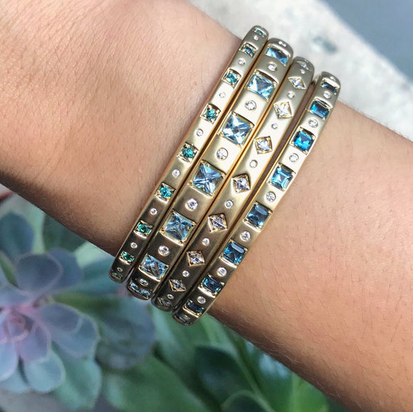 Cirque Limited Edition Vintage Inspired Oval Hinged Cuff with Square Blue Topaz - Lesley Ann Jewels
