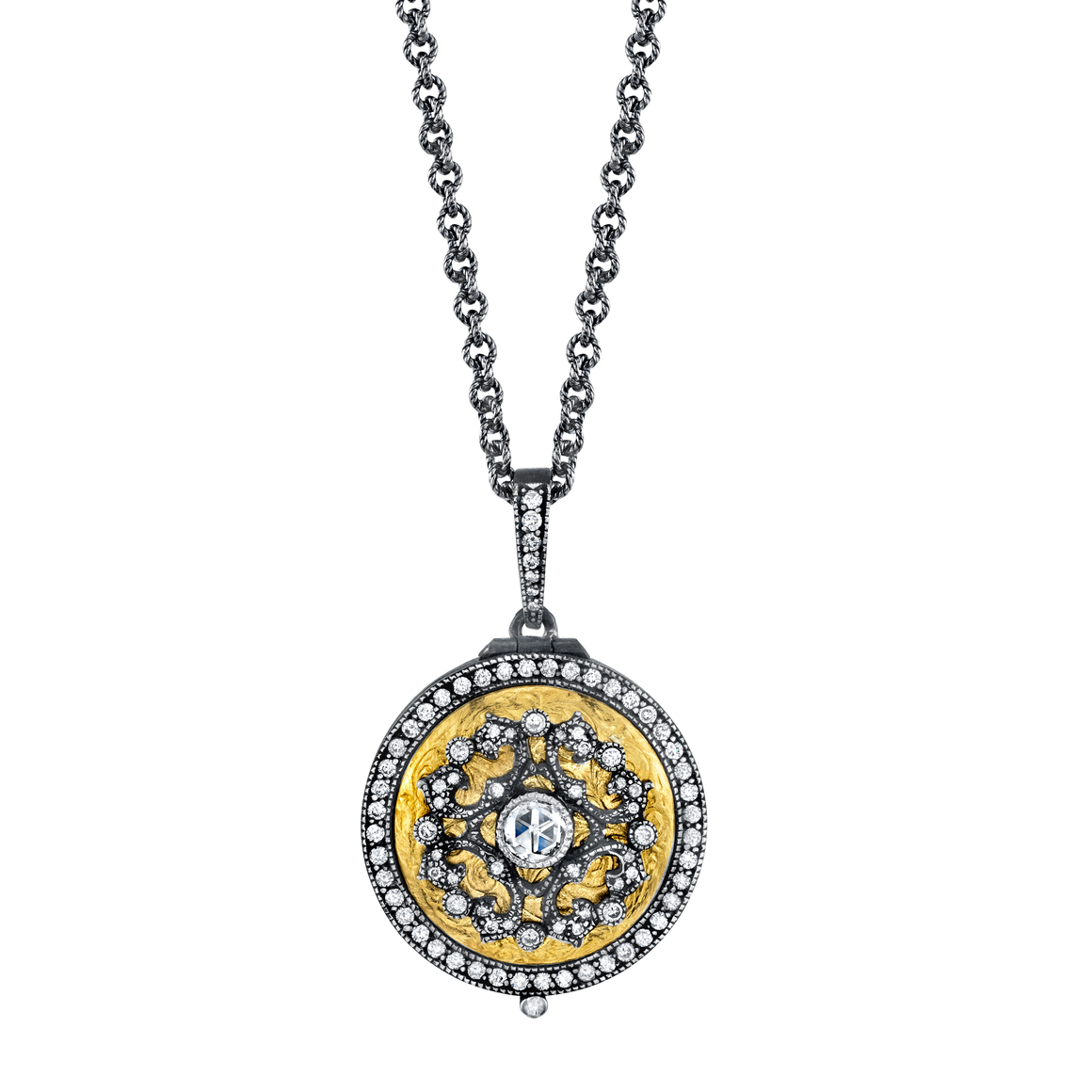Diamond Lace Locket - Lesley Ann Jewels