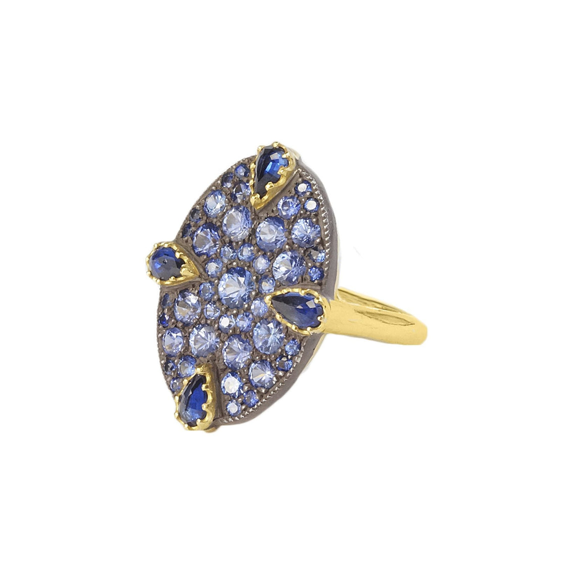 """Cobblestone"" ring with sapphires"