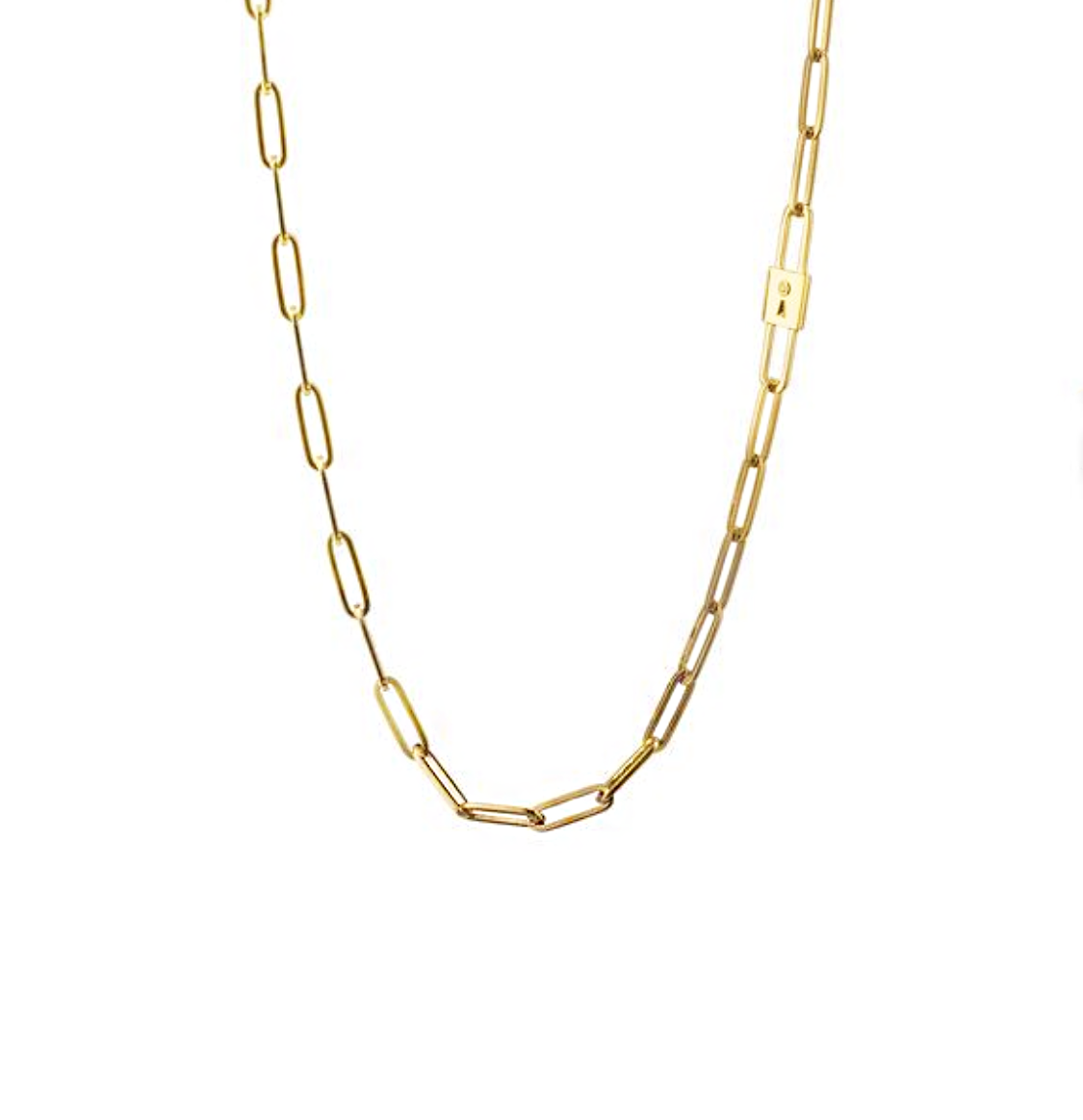 Paperclip Chain with Diamond Accent Charm - Lesley Ann Jewels