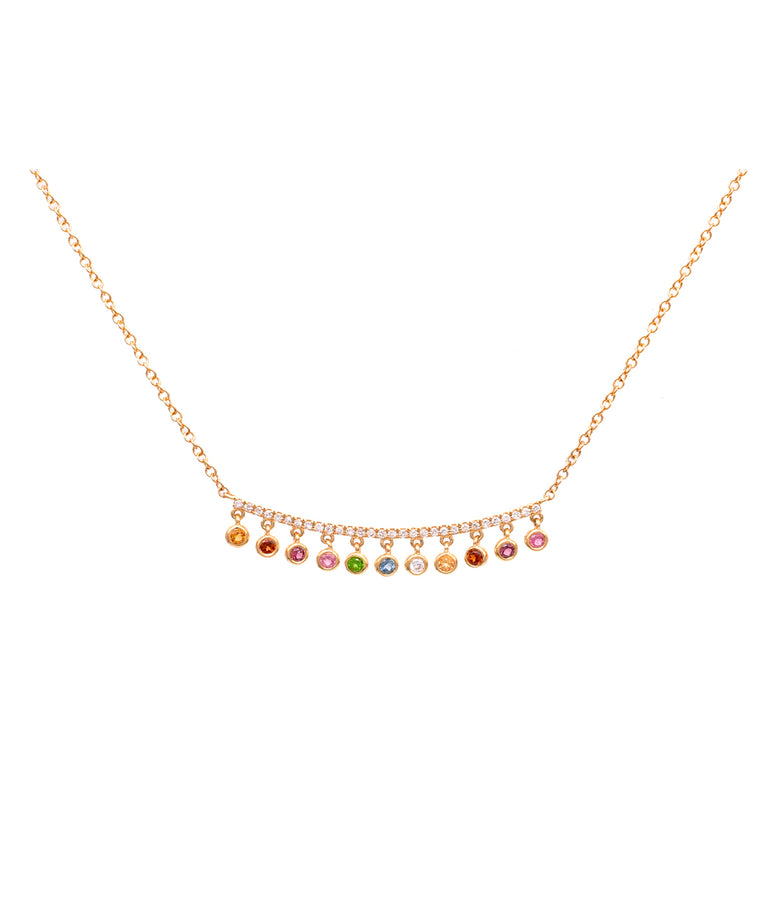 Rainbow Drop Bar Necklace - Lesley Ann Jewels
