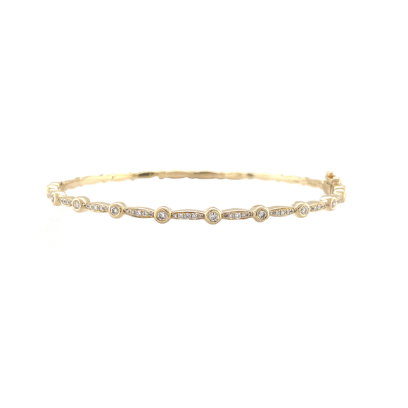 Diamond Bezel Station Bangle - Lesley Ann Jewels