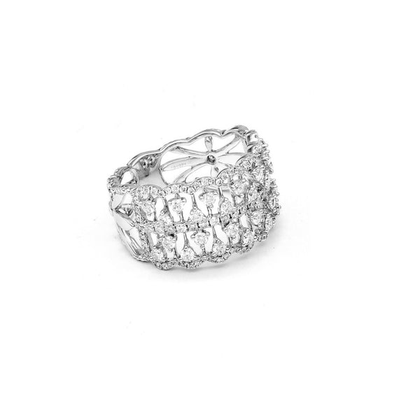 "This pretty wide band features a delicate open-work design. It's set with diamonds totaling 1.10 carat. The 18k white gold ring is 1/2"" wide and size 6 1/2."