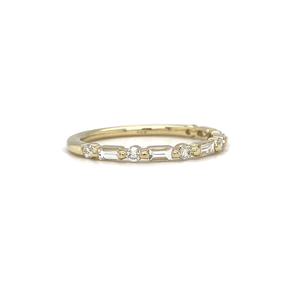 Yellow Gold Baguette and Round Diamond Stack Band