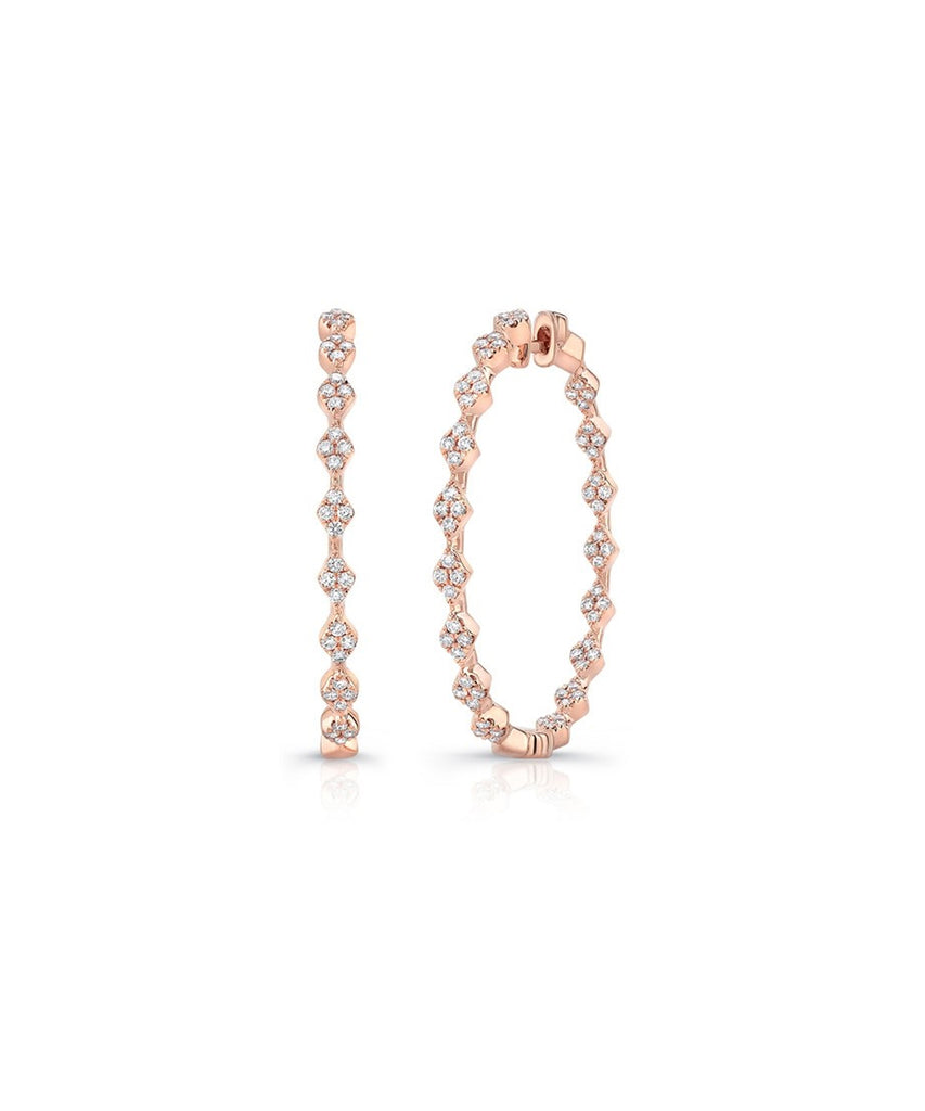 Rose Gold Diamond Hoops - Lesley Ann Jewels