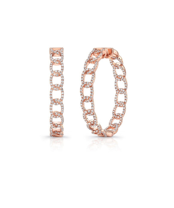 "These round 18k rose gold hoops echo a chain link design. They are set with diamonds totaling 1.50 carat and are about 1 1/2"" in diameter."