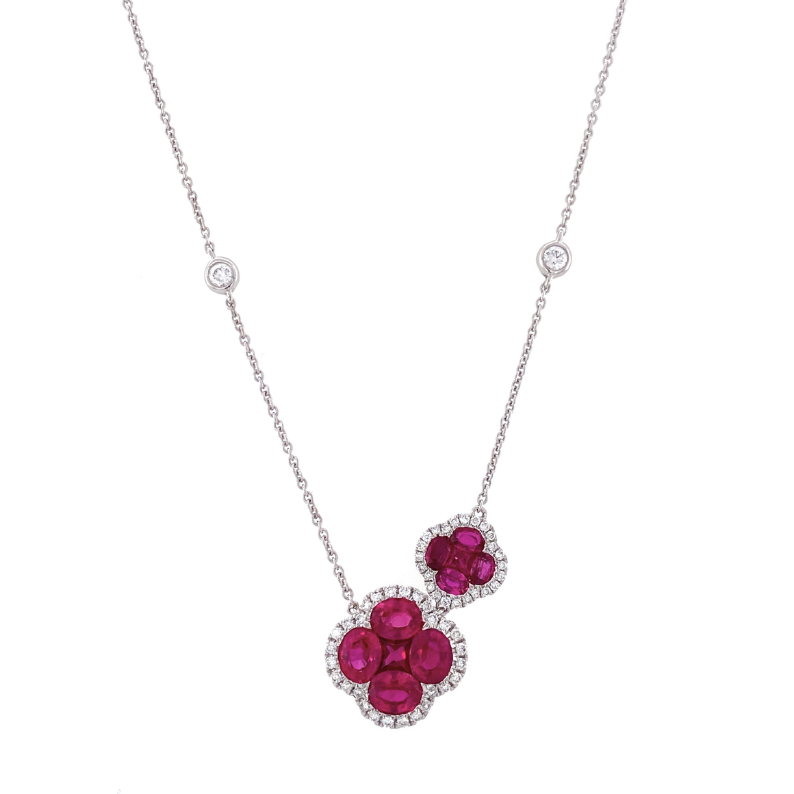 Ruby Bezel Stations Necklace - Lesley Ann Jewels