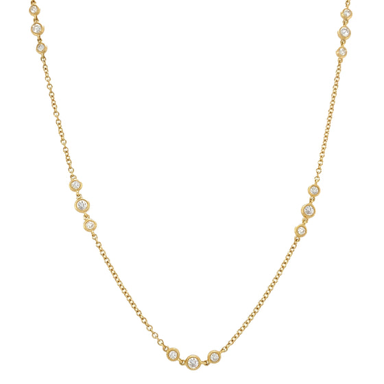Yellow Gold Three Diamond Cluster Bezel Necklace