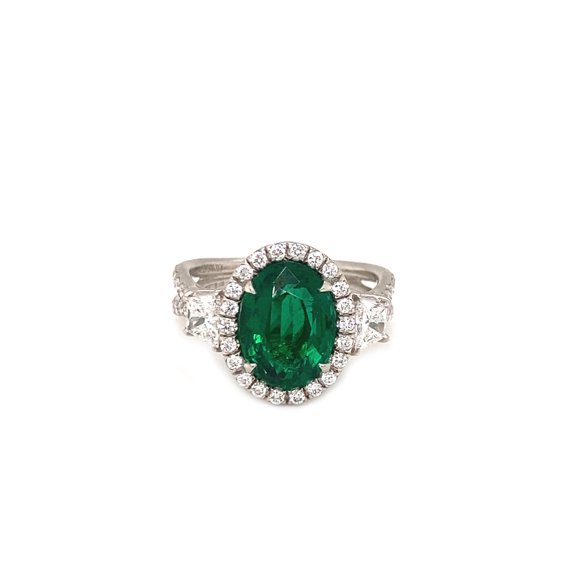 Oval Center Emerald Ring