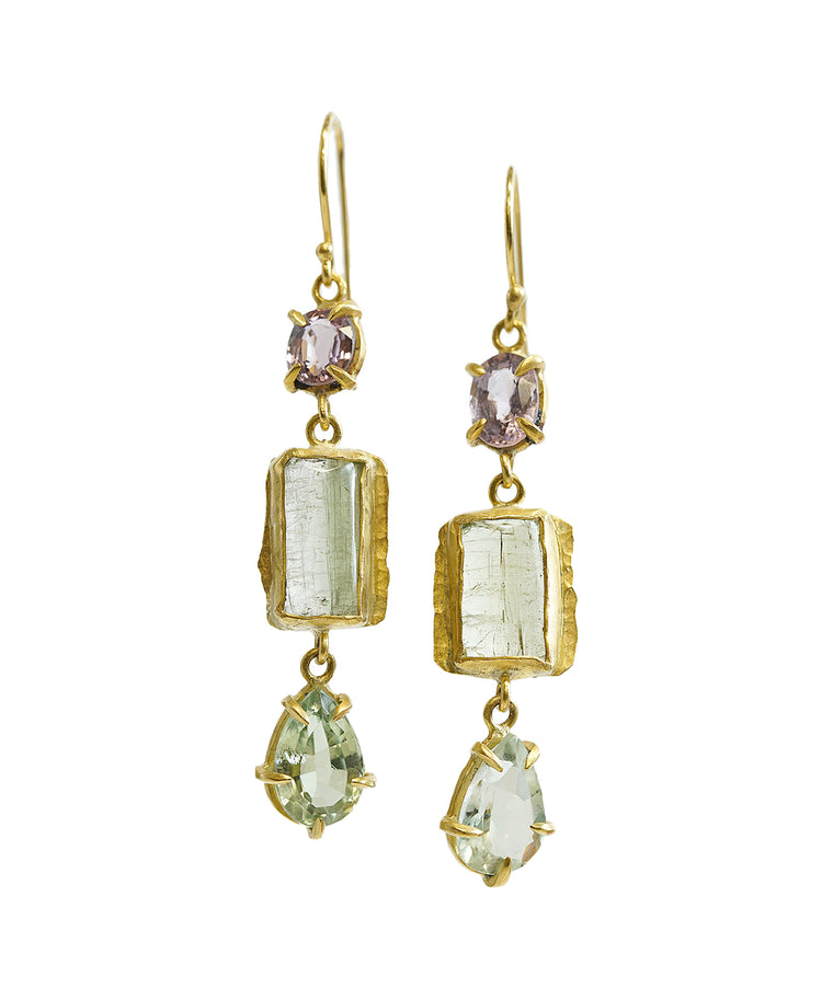 Tourmaline and spinel long earrings
