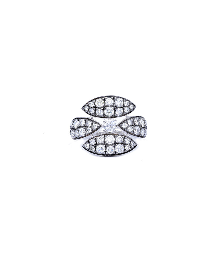 Blackened White Gold Diamond Ring - Lesley Ann Jewels