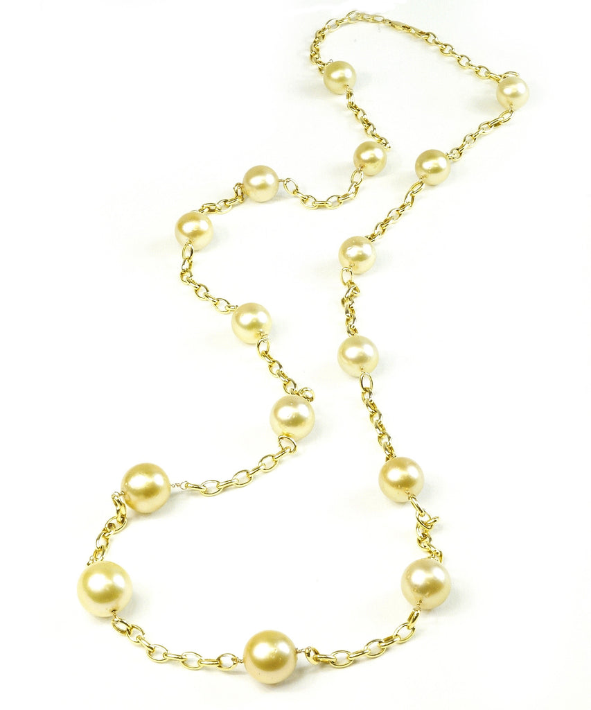 Golden South Sea pearls and link necklace