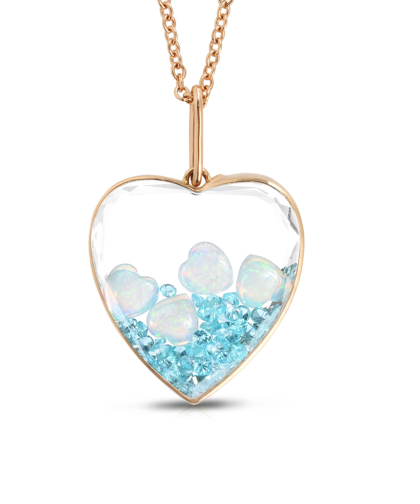 Heart Shaker with opals and tourmalines