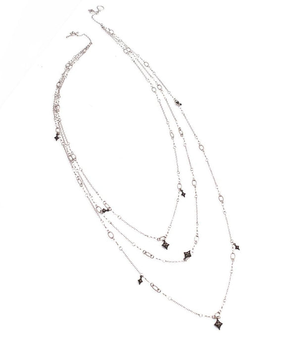 Triple-strand silver necklace