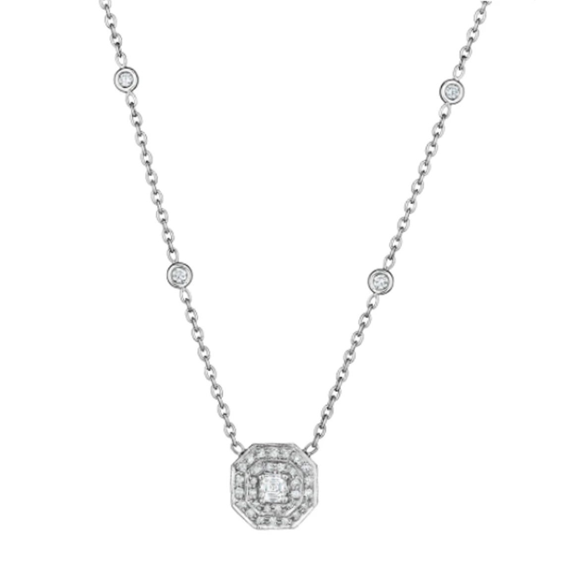 Small Diamond Double Row Pave Octagon Necklace - Lesley Ann Jewels