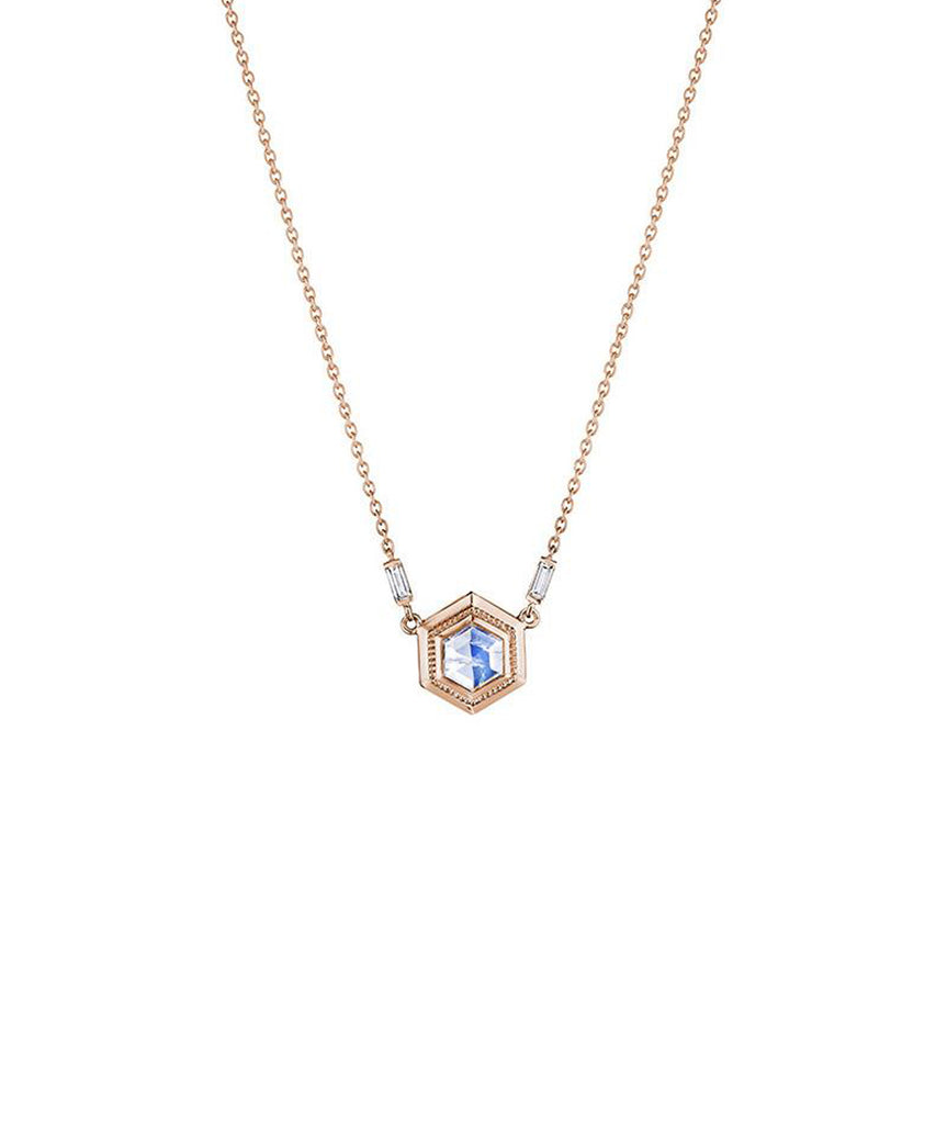 Moonstone pendant in rose gold - Lesley Ann Jewels
