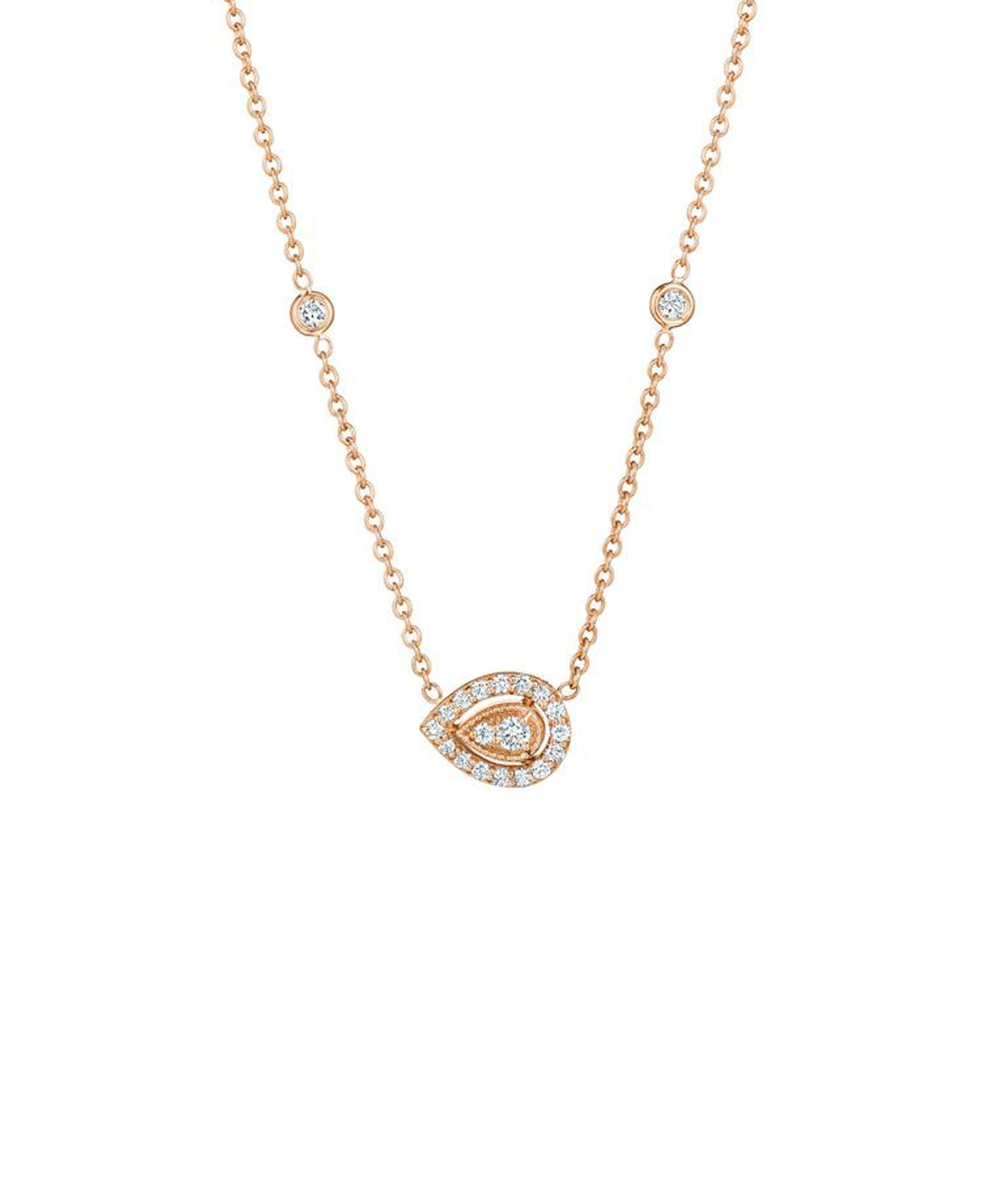"Setting the pear-shaped diamond makes this necklace modern. The pear-shaped diamond is set in a diamond frame. Total diamond weight is .44 carat. The pendant is 1/2"" across and hangs from an 18"" chain."