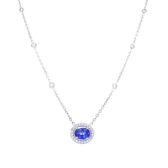 Oval Blue Sapphire Necklace - Lesley Ann Jewels