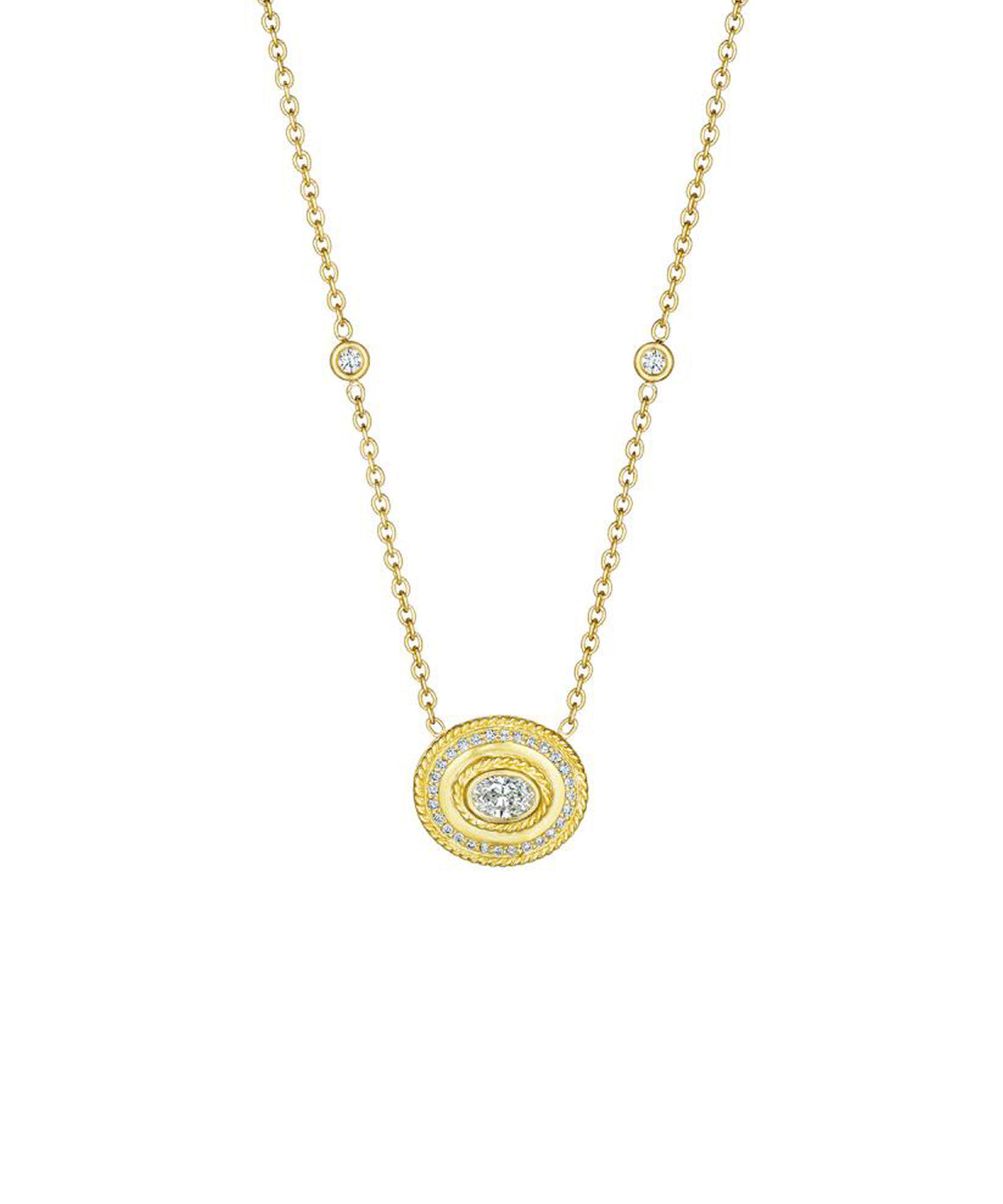 "The oval diamond is set crosswise in a matte finished frame detailed with milgraining and pavé diamonds. Total diamond weight is .62 carat. The pendant is 5/8"" across and hangs from an 18"" chain."