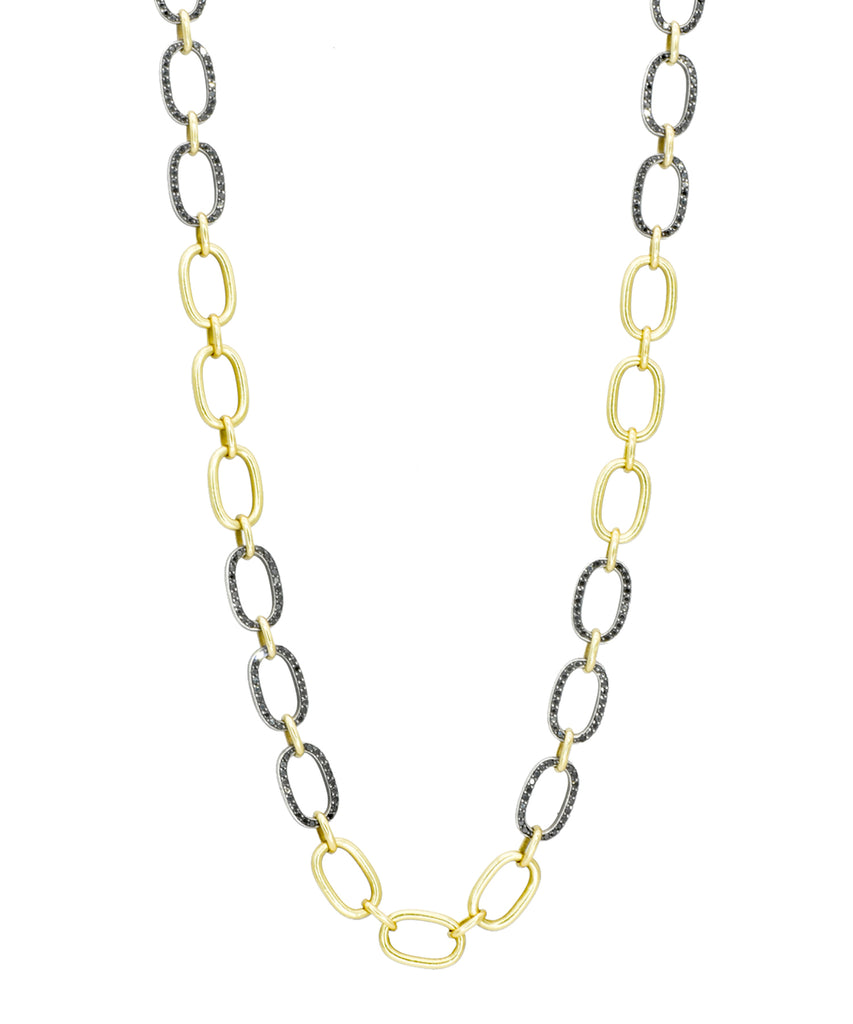 Oval Link Chain with Black Diamonds - Lesley Ann Jewels