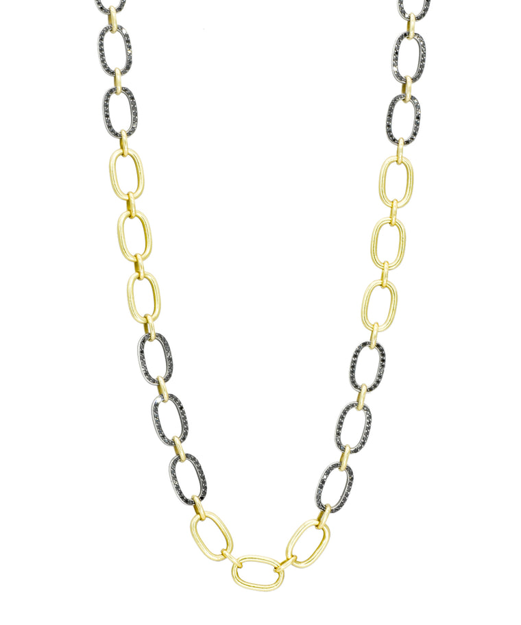 Oval Link Chain with Black Diamonds