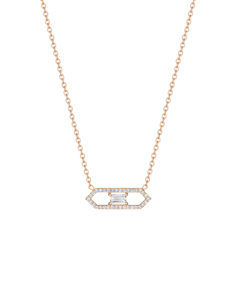 Rose gold necklace with emerald cut diamond