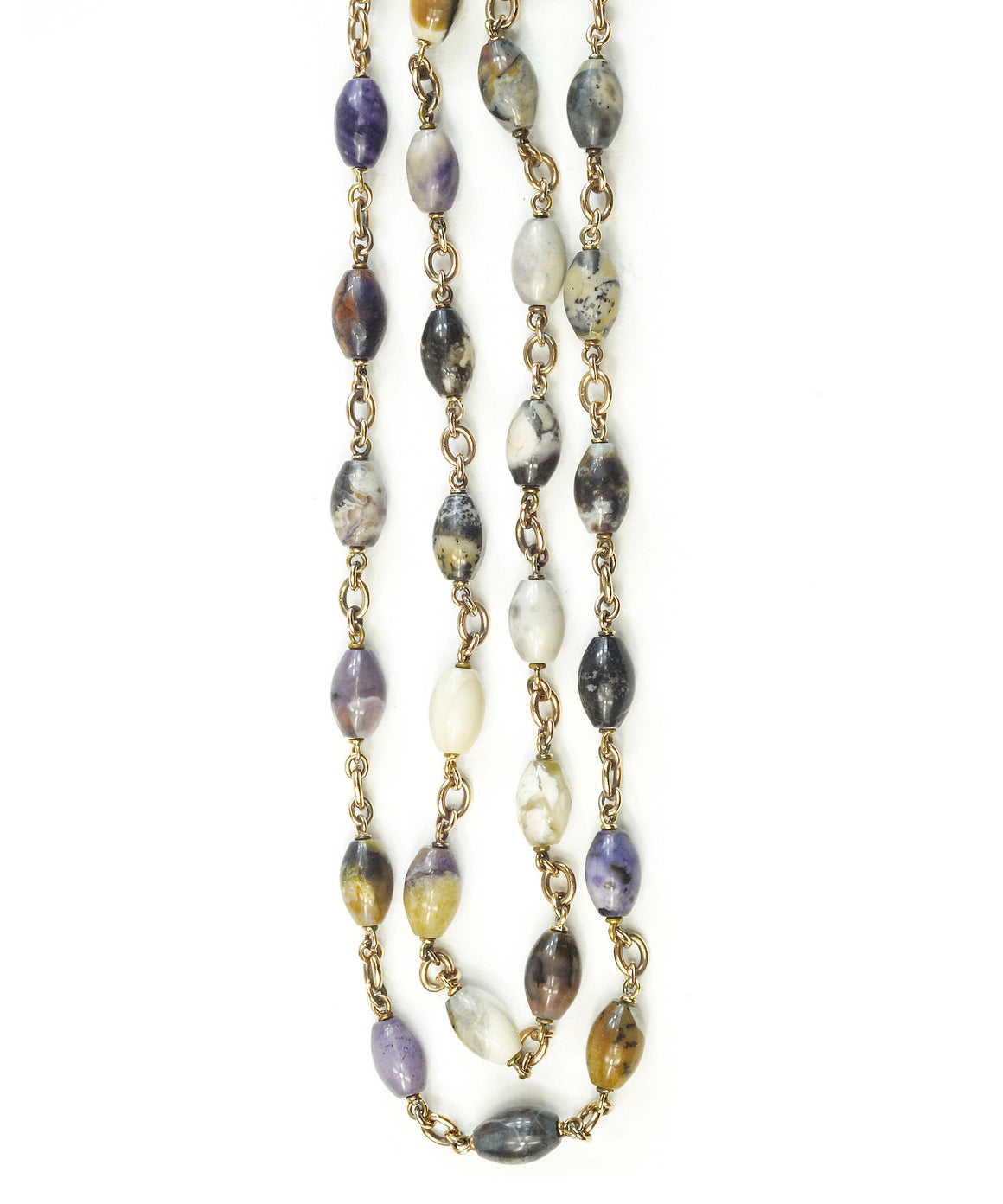 Fluorite and opal bead necklace