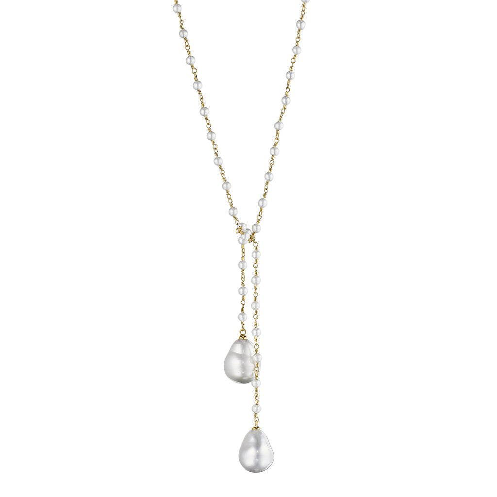 Pearl Lariat Necklace in Yellow Gold - Lesley Ann Jewels