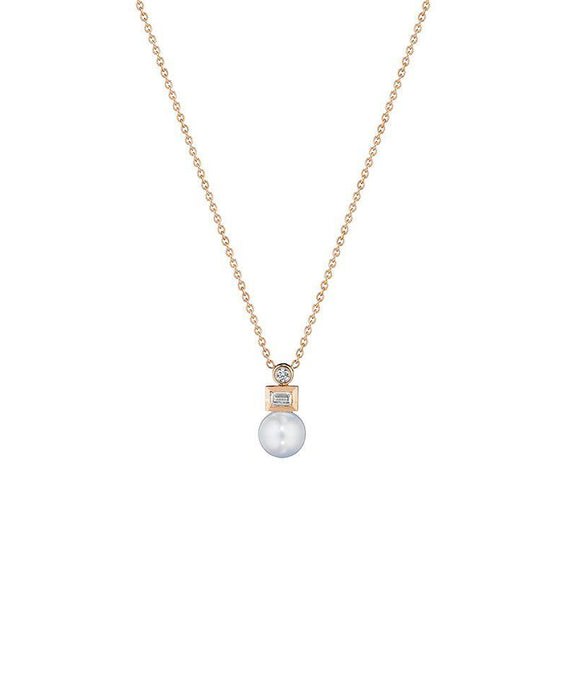 "Here's an elegant classic look. The 9mm freshwater pearl is accented with round and baguette diamonds totaling .35 carat. The 18"" chain adjusts to 17"" if desired."
