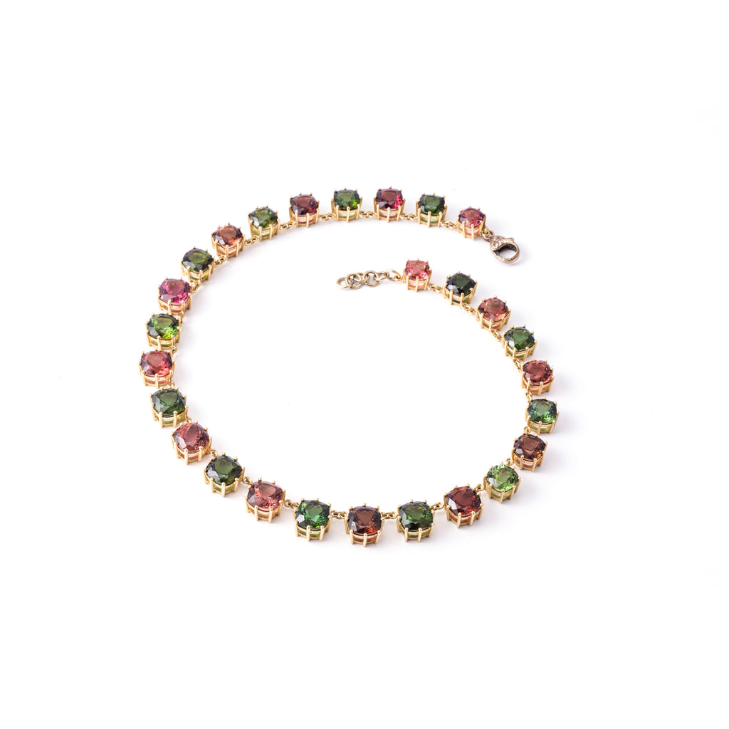 Pink and Green Tourmaline Collett - Lesley Ann Jewels