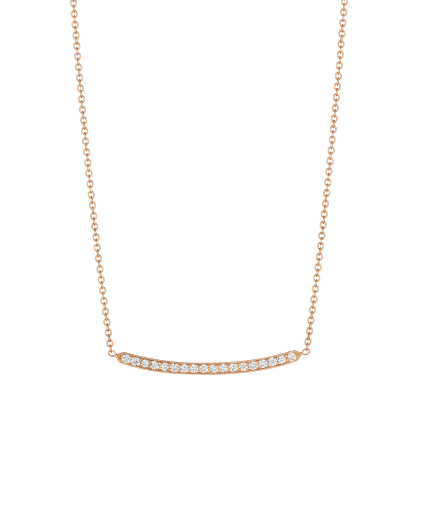 Rose gold pavé bar necklace