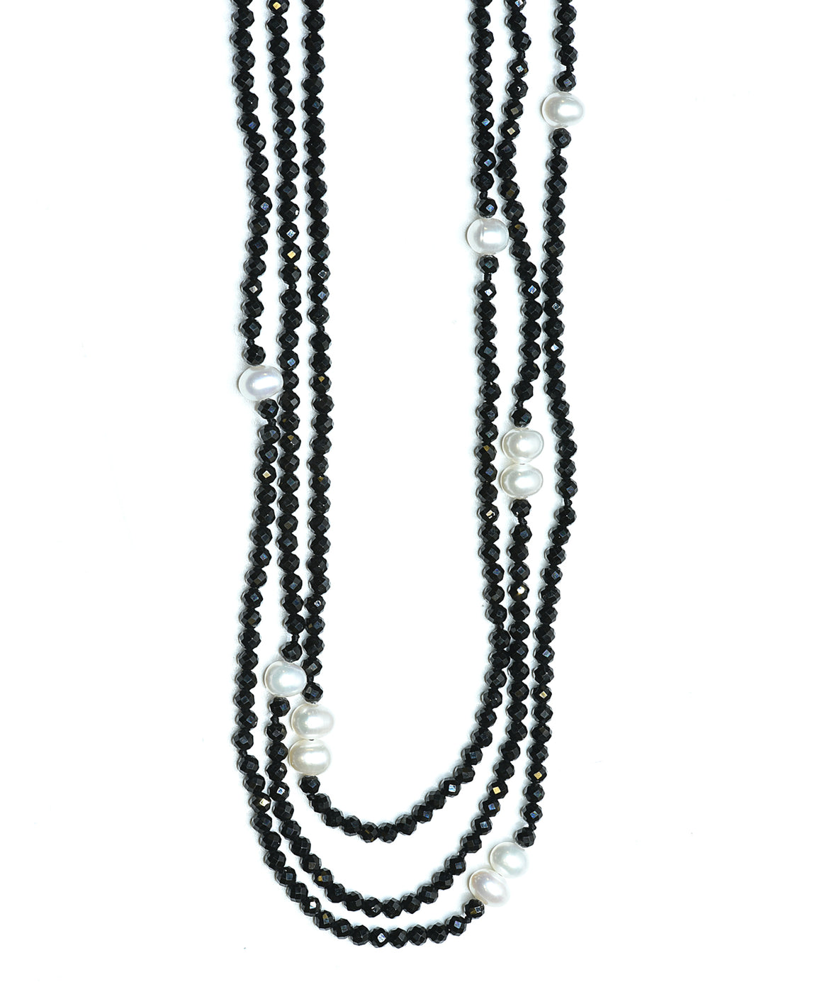 Potato pearl and black spinel long necklace
