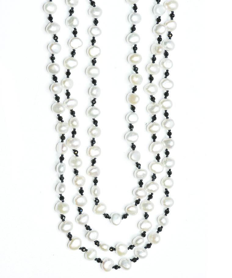 3-strand potato pearl necklace.