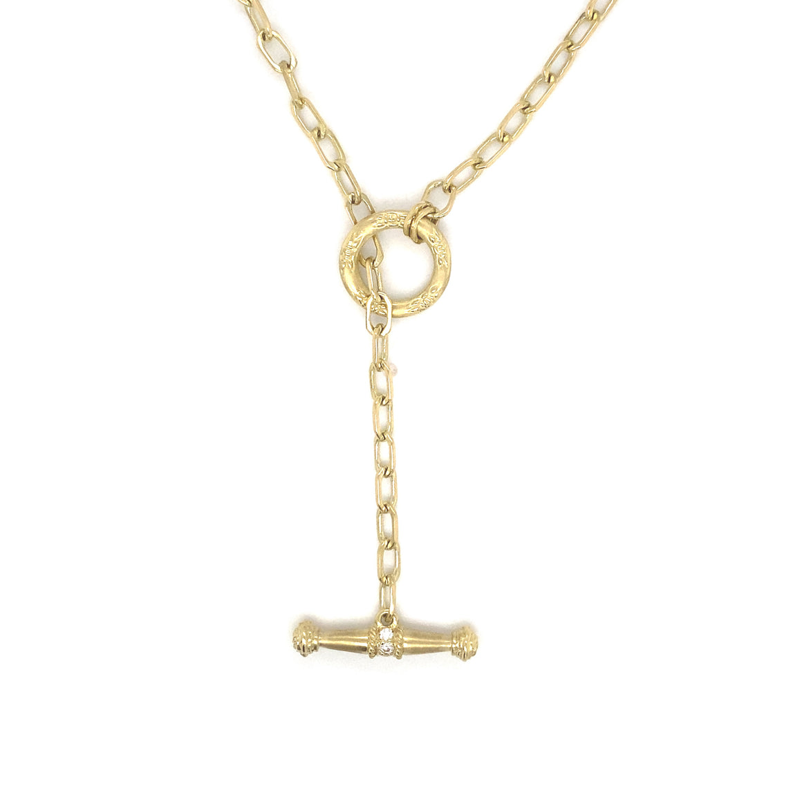 Flat Link Necklace with Diamond Toggle