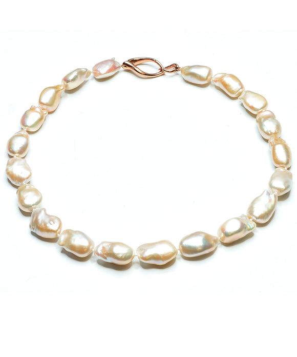 Peach Baroque freshwater pearl necklace - Lesley Ann Jewels