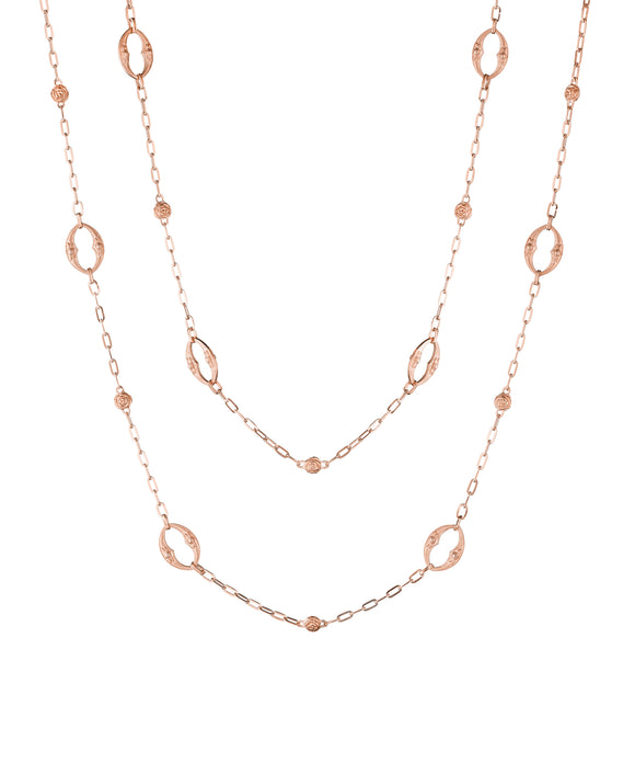 Rose gold oval-and-rose long chain