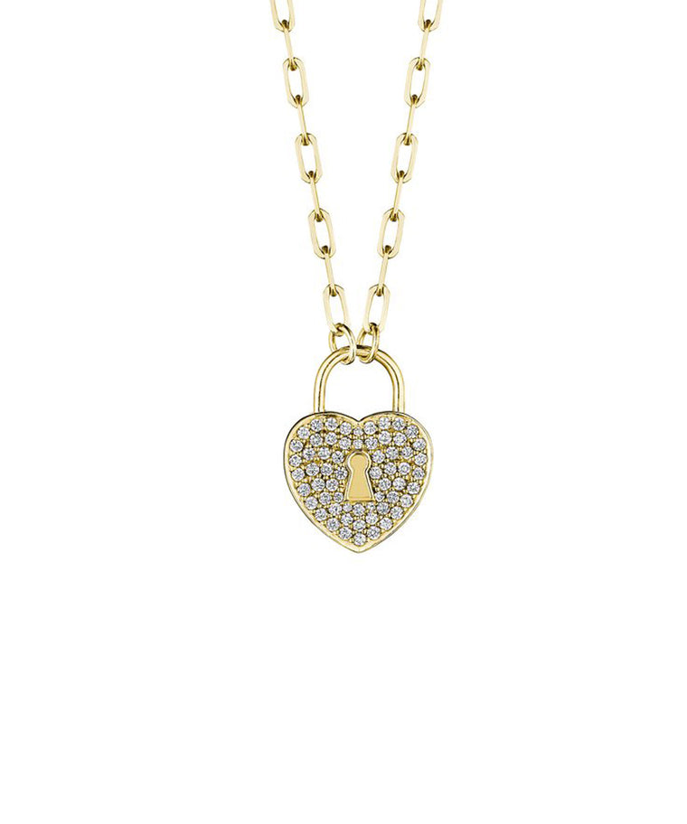 Heart Love Lock Pendant in Yellow Gold