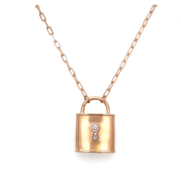 Diamond Rose Gold Padlock - Lesley Ann Jewels